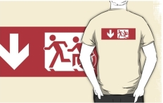 Accessible Exit Sign Project Wheelchair Wheelie Running Man Symbol Means of Egress Icon Disability Emergency Evacuation Fire Safety Adult T-shirt 480
