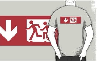 Accessible Exit Sign Project Wheelchair Wheelie Running Man Symbol Means of Egress Icon Disability Emergency Evacuation Fire Safety Adult T-shirt 481
