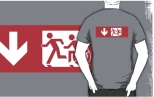 Accessible Exit Sign Project Wheelchair Wheelie Running Man Symbol Means of Egress Icon Disability Emergency Evacuation Fire Safety Adult T-shirt 482