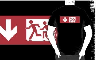 Accessible Exit Sign Project Wheelchair Wheelie Running Man Symbol Means of Egress Icon Disability Emergency Evacuation Fire Safety Adult T-shirt 484