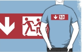 Accessible Exit Sign Project Wheelchair Wheelie Running Man Symbol Means of Egress Icon Disability Emergency Evacuation Fire Safety Adult T-shirt 485