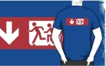 Accessible Exit Sign Project Wheelchair Wheelie Running Man Symbol Means of Egress Icon Disability Emergency Evacuation Fire Safety Adult T-shirt 486