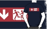 Accessible Exit Sign Project Wheelchair Wheelie Running Man Symbol Means of Egress Icon Disability Emergency Evacuation Fire Safety Adult T-shirt 487