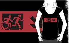 Accessible Exit Sign Project Wheelchair Wheelie Running Man Symbol Means of Egress Icon Disability Emergency Evacuation Fire Safety Adult T-shirt 488