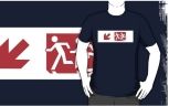 Accessible Exit Sign Project Wheelchair Wheelie Running Man Symbol Means of Egress Icon Disability Emergency Evacuation Fire Safety Adult T-shirt 489