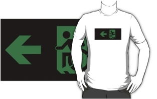 Accessible Exit Sign Project Wheelchair Wheelie Running Man Symbol Means of Egress Icon Disability Emergency Evacuation Fire Safety Adult t-shirt 49