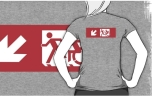 Accessible Exit Sign Project Wheelchair Wheelie Running Man Symbol Means of Egress Icon Disability Emergency Evacuation Fire Safety Adult T-shirt 493