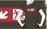Accessible Exit Sign Project Wheelchair Wheelie Running Man Symbol Means of Egress Icon Disability Emergency Evacuation Fire Safety Adult T-shirt 495