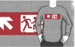 Accessible Exit Sign Project Wheelchair Wheelie Running Man Symbol Means of Egress Icon Disability Emergency Evacuation Fire Safety Adult T-shirt 496