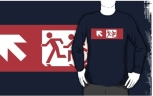 Accessible Exit Sign Project Wheelchair Wheelie Running Man Symbol Means of Egress Icon Disability Emergency Evacuation Fire Safety Adult T-shirt 497
