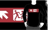 Accessible Exit Sign Project Wheelchair Wheelie Running Man Symbol Means of Egress Icon Disability Emergency Evacuation Fire Safety Adult T-shirt 499