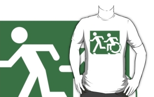 Accessible Exit Sign Project Wheelchair Wheelie Running Man Symbol Means of Egress Icon Disability Emergency Evacuation Fire Safety Adult T-shirt 5