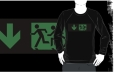 Accessible Exit Sign Project Wheelchair Wheelie Running Man Symbol Means of Egress Icon Disability Emergency Evacuation Fire Safety Adult T-shirt 50