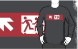 Accessible Exit Sign Project Wheelchair Wheelie Running Man Symbol Means of Egress Icon Disability Emergency Evacuation Fire Safety Adult T-shirt 502