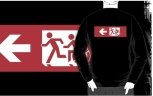 Accessible Exit Sign Project Wheelchair Wheelie Running Man Symbol Means of Egress Icon Disability Emergency Evacuation Fire Safety Adult T-shirt 503