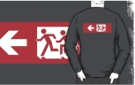 Accessible Exit Sign Project Wheelchair Wheelie Running Man Symbol Means of Egress Icon Disability Emergency Evacuation Fire Safety Adult T-shirt 504