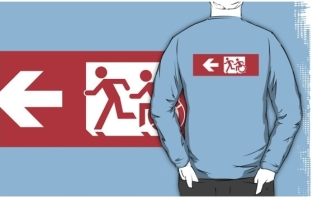 Accessible Exit Sign Project Wheelchair Wheelie Running Man Symbol Means of Egress Icon Disability Emergency Evacuation Fire Safety Adult T-shirt 505
