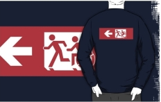 Accessible Exit Sign Project Wheelchair Wheelie Running Man Symbol Means of Egress Icon Disability Emergency Evacuation Fire Safety Adult T-shirt 506