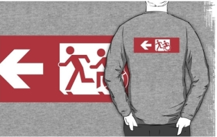 Accessible Exit Sign Project Wheelchair Wheelie Running Man Symbol Means of Egress Icon Disability Emergency Evacuation Fire Safety Adult T-shirt 507
