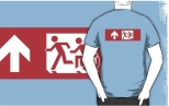 Accessible Exit Sign Project Wheelchair Wheelie Running Man Symbol Means of Egress Icon Disability Emergency Evacuation Fire Safety Adult T-shirt 508