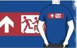 Accessible Exit Sign Project Wheelchair Wheelie Running Man Symbol Means of Egress Icon Disability Emergency Evacuation Fire Safety Adult T-shirt 509