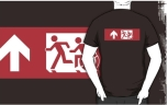 Accessible Exit Sign Project Wheelchair Wheelie Running Man Symbol Means of Egress Icon Disability Emergency Evacuation Fire Safety Adult T-shirt 510