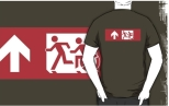 Accessible Exit Sign Project Wheelchair Wheelie Running Man Symbol Means of Egress Icon Disability Emergency Evacuation Fire Safety Adult T-shirt 511