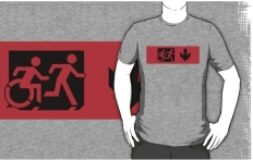 Accessible Exit Sign Project Wheelchair Wheelie Running Man Symbol Means of Egress Icon Disability Emergency Evacuation Fire Safety Adult T-shirt 512