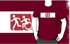 Accessible Exit Sign Project Wheelchair Wheelie Running Man Symbol Means of Egress Icon Disability Emergency Evacuation Fire Safety Adult T-shirt 513
