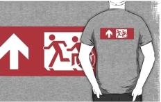 Accessible Exit Sign Project Wheelchair Wheelie Running Man Symbol Means of Egress Icon Disability Emergency Evacuation Fire Safety Adult T-shirt 514