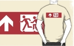 Accessible Exit Sign Project Wheelchair Wheelie Running Man Symbol Means of Egress Icon Disability Emergency Evacuation Fire Safety Adult T-shirt 515