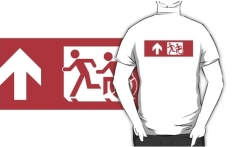 Accessible Exit Sign Project Wheelchair Wheelie Running Man Symbol Means of Egress Icon Disability Emergency Evacuation Fire Safety Adult T-shirt 516