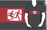 Accessible Exit Sign Project Wheelchair Wheelie Running Man Symbol Means of Egress Icon Disability Emergency Evacuation Fire Safety Adult T-shirt 517