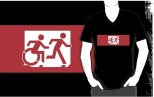 Accessible Exit Sign Project Wheelchair Wheelie Running Man Symbol Means of Egress Icon Disability Emergency Evacuation Fire Safety Adult T-shirt 518