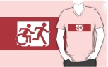 Accessible Exit Sign Project Wheelchair Wheelie Running Man Symbol Means of Egress Icon Disability Emergency Evacuation Fire Safety Adult T-shirt 519