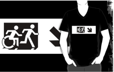 Accessible Exit Sign Project Wheelchair Wheelie Running Man Symbol Means of Egress Icon Disability Emergency Evacuation Fire Safety Adult T-shirt 52