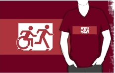 Accessible Exit Sign Project Wheelchair Wheelie Running Man Symbol Means of Egress Icon Disability Emergency Evacuation Fire Safety Adult T-shirt 520