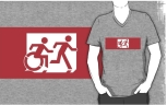 Accessible Exit Sign Project Wheelchair Wheelie Running Man Symbol Means of Egress Icon Disability Emergency Evacuation Fire Safety Adult T-shirt 521
