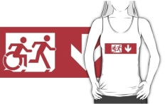 Accessible Exit Sign Project Wheelchair Wheelie Running Man Symbol Means of Egress Icon Disability Emergency Evacuation Fire Safety Adult T-shirt 522
