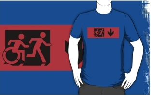 Accessible Exit Sign Project Wheelchair Wheelie Running Man Symbol Means of Egress Icon Disability Emergency Evacuation Fire Safety Adult T-shirt 524