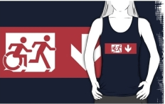 Accessible Exit Sign Project Wheelchair Wheelie Running Man Symbol Means of Egress Icon Disability Emergency Evacuation Fire Safety Adult T-shirt 527
