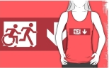 Accessible Exit Sign Project Wheelchair Wheelie Running Man Symbol Means of Egress Icon Disability Emergency Evacuation Fire Safety Adult T-shirt 528