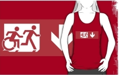 Accessible Exit Sign Project Wheelchair Wheelie Running Man Symbol Means of Egress Icon Disability Emergency Evacuation Fire Safety Adult T-shirt 529