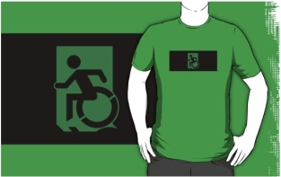 Accessible Exit Sign Project Wheelchair Wheelie Running Man Symbol Means of Egress Icon Disability Emergency Evacuation Fire Safety Adult t-shirt 53