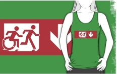 Accessible Exit Sign Project Wheelchair Wheelie Running Man Symbol Means of Egress Icon Disability Emergency Evacuation Fire Safety Adult T-shirt 531