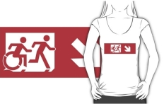Accessible Exit Sign Project Wheelchair Wheelie Running Man Symbol Means of Egress Icon Disability Emergency Evacuation Fire Safety Adult T-shirt 533