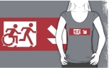 Accessible Exit Sign Project Wheelchair Wheelie Running Man Symbol Means of Egress Icon Disability Emergency Evacuation Fire Safety Adult T-shirt 534