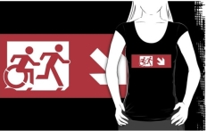 Accessible Exit Sign Project Wheelchair Wheelie Running Man Symbol Means of Egress Icon Disability Emergency Evacuation Fire Safety Adult T-shirt 535