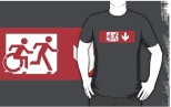Accessible Exit Sign Project Wheelchair Wheelie Running Man Symbol Means of Egress Icon Disability Emergency Evacuation Fire Safety Adult T-shirt 536