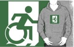Accessible Exit Sign Project Wheelchair Wheelie Running Man Symbol Means of Egress Icon Disability Emergency Evacuation Fire Safety Adult T-shirt 537